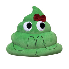 Cute Emoji Green Emoji cushion Doll small Bowknot LOVE Heart Eyes Poop pillow toy Poo shape Amusing emotion Cushion pillows sale(China)
