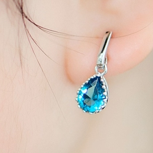 Women's wedding earring Crystal Pendant Ladies Fashion Accessories Tremella blue rain(China)