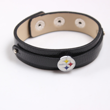 10Pcs/lot NFL Slide Charms PU Leather Bracelets American Football Pittsburgh Steelers Slide Charms  Adjustable Bangle