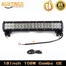 "DISCOUNT FREE SHIPPING 18""inch 108W COMBO off road led light bar WITH WIRING KIT 4x4 led light bar car led driving light"