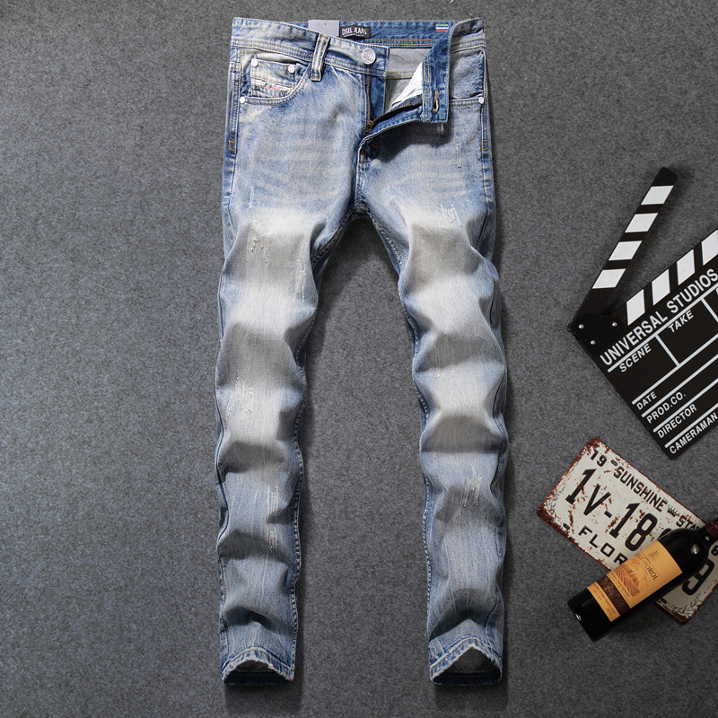 DSEL Brand men denim ripped jeans hot sale fashion brand design mens jeans size 29 to 40 light blue original jeans menОдежда и ак�е��уары<br><br><br>Aliexpress