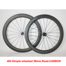 Discount sale! clincher 58mm carbon road bike dimple wheels golf finish wheelset 25mm width Z404