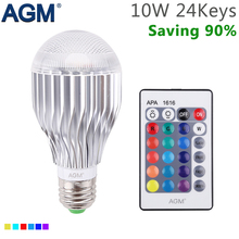 AGM RGB LED Bulb 10W E27 Lamp Night Light Luminaria Dimmer 16 Colors Rotate IR Remote Control For Home Party Holiday Decoration