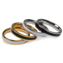 4styles Enamel Rings Vintage white and black ceramic gold plated stainless steel titanium lovers rings jewelry for promotion