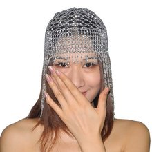 Girls Womens Exotic Cleopatra Beaded Belly Dance Head Cap Hat Hair Accessory Gold Silver(China)