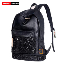 MAGIC UNION New 2017 Fashion Women Backpack Big Crown Embroidered Sequins Backpack Wholesale Women Leather Backpack School Bags(China)
