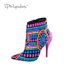 Buy Pink Palms women winter boots sequined cloth fuchsia bling paillette shoes high heels pointed toe boots sexy women boots for $59.99 in AliExpress store