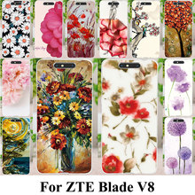 Silicone Plastic Cell Phone Covers Cases For ZTE Blade V8 Bags Shell Skin Colorful Flower Housing For ZTE Blade V8 Case Cover