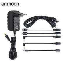 Power Supply Adapter 9V DC 2000mA for Guitar Bass Effect with 8 Way Daisy Chain Splitter Lead Chord Cable Battery Clip Converter