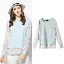 OCHANAL Light Blue Color Large Size Women Blouses 2017 Spring Long Sleeve Fashion Lace Blouse 4XL 5XL Plus Size Women's Shirts(China)