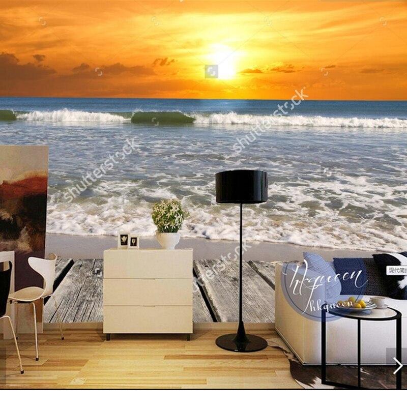 Custom natural landscape wallpaper,Sunset on the beach,photo for living room bedroom background wall vinyl wallpaper<br><br>Aliexpress