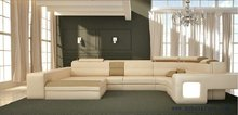 Free Shipping modern Design Leather sofa, with light, adjusted headrest leather sofa set S8570