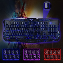 New Russian / English Gaming Keyboard USB LED Wired Keyboard With 3 Backlight Modes USB Powered Full N-Key Rollover For LOL Game