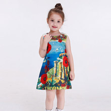 1pcs Floral Princess Dress Kids Clothing 2016 Autumn Sleevess Baby Girls Frocks Designs Girls Prom Princess Costume Child
