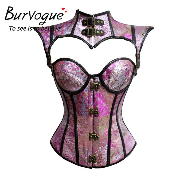 steampunk corset red