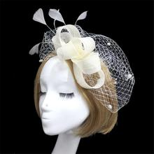 Feather Fascinator Hair Accessories Bridal Birdcage Veil Hat Wedding Hats And Fascinators Chapeu Feminino Cabelo WIGO0690
