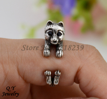 Drop Shipping Punk Vintage 3D Pomeranian Puppy Dog Animal Wrap Ring Anillos Boho Anel Rings For Women Aneis Fashion Jewelry