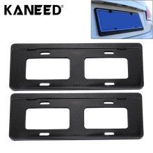 2 PCS Car License Plate Carbon Fiber Bracket Frame Holder Stand Mount Black license plate covers frames