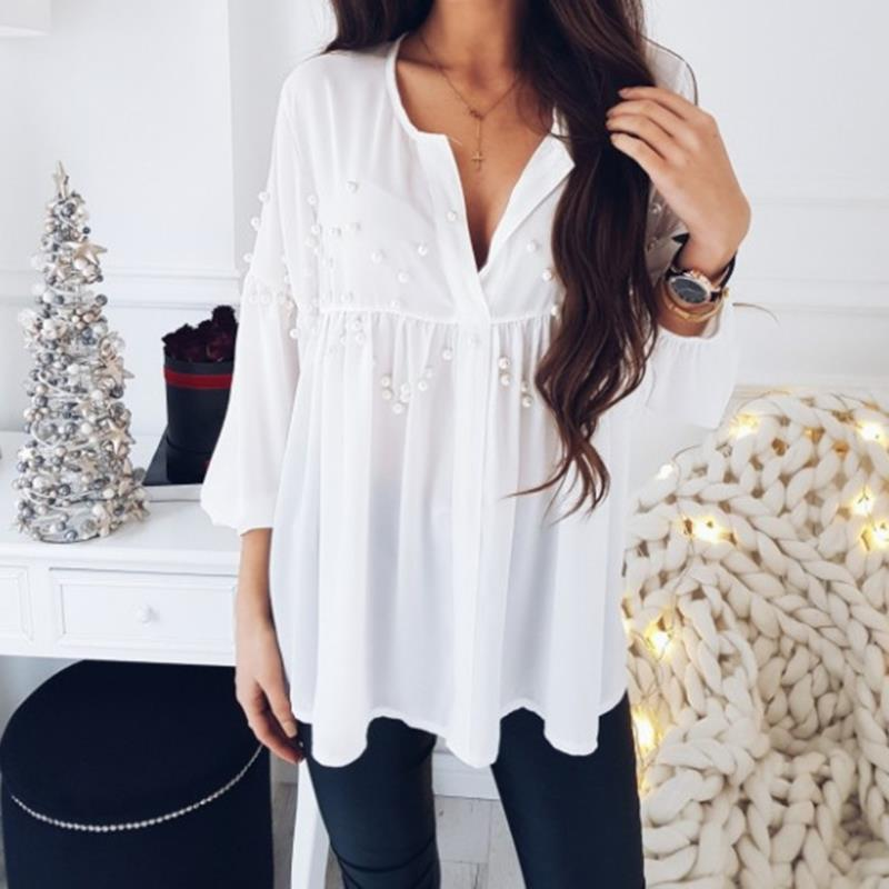Elegant Pearls Beading Shirts Long Sleeve V Ncek White Chiffon Shirt Pleated Chic Blouse Office Lady Casual Tops Blusas WS6098O 2