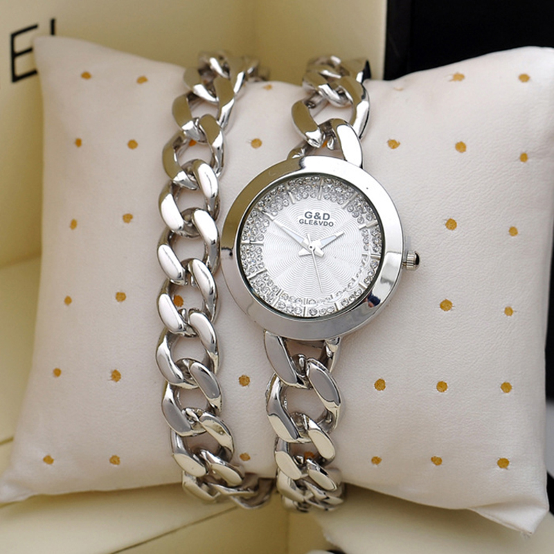 Brand Fashion Womens Bracelet Rinestone Watch Ladies Quartz Analog Pointer Wristwatch Alloy Band&amp;Case<br>