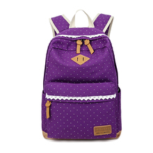 VSEN Ethnic Women Backpack for School Teenagers Girls Vintage Stylish Ladies Bag Backpack Female Dotted Printing Purple