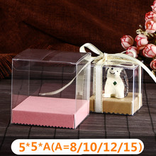 30pcs/lot 5*5*(8/10/12/15/20/25/30cm) PVC Plastic Candy Boxes with Paper Base Display Packing Wedding Event & Party Supplies Box