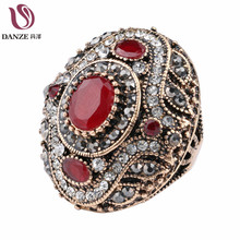 Danze 2017 Boho Style Crystal Ring For Women Luxury Vintage Aneis Masculino Turkish Red Resin Rings Wedding Jewelry Accessories(China)