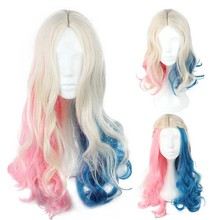 Suicide Squad Harley Quinn Cosplay Adult Women Blended Color Central Parting Curly Hair Costume Accessories 3 Types for Choice(China)