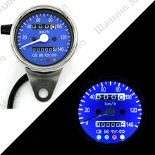 Vintage Silver Housing Blue Face Mechanical 0-140KMH Stainless odometer speedometer +4 ADDITIONAL FEATURES LED Indicator Lights