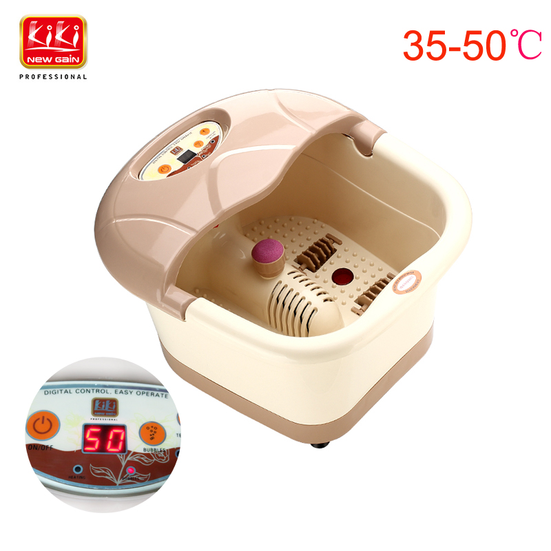 KIKI.heating foot spa basin foot massager Heating Infrared Bubble Roller massage adjustable temperature with handle(China (Mainland))