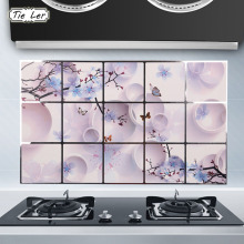 TIE LER 75X45cm Home Decoration Accessories Waterproof Aluminum Foil Wall Sticker Kitchen Wall Decoration Plum Blossom Sticker