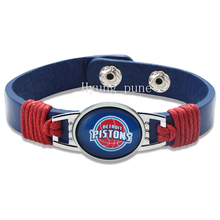 6pcs/lot! Detroit Basketball Genuine Leather Adjustable Bracelet Wristband Cuff 12mm Blue Leather Snap Button Charm Jewelry