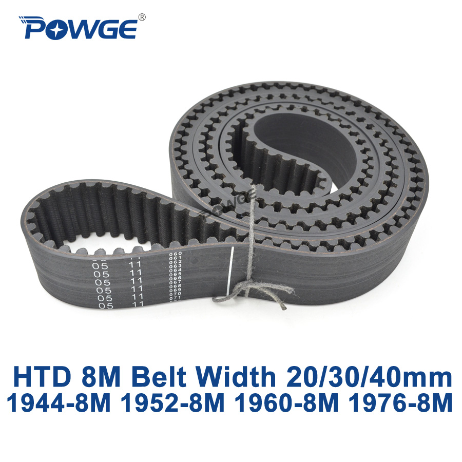 POWGE HTD 8M synchronous Timing belt C=1944/1952/1960/1976 width 20/30/40mm Teeth 243 244 245 247 HTD8M 1944-8M 1952-8M 1960-8M<br>
