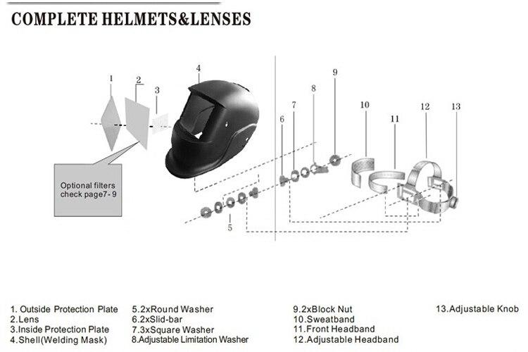 Pro Solar Powered Auto Darkening Welding Eyeshade Filter Lens Black/& Dark Green