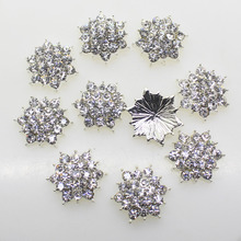 HOT 10Pcs/lot 17mm  Hexagonal metal rhinestones diamond button  pearl button diy girl hair accessory  Wedding Invitation