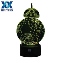 Sent to USA 3D Illusion STAR WARS Remote Control LED Desk Table Night Light 7 Color Touch Lamp Kids Children Family Holiday Gift(China)