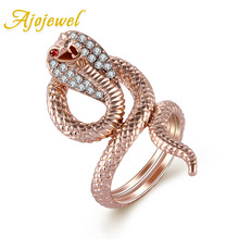 Ajojewel #7-9 Rose Gold-color CZ Snake Ring For Women Brand Animal Designer Cobra Bijoux