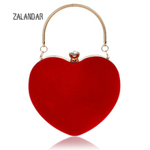 Women Evening Bags Heart Shaped Diamonds  Red/Black Chain Shoulder Purse Day Clutches Evening Bags For Party Wedding ZALANDAR
