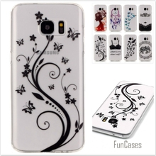 New Bra Butterfly Painted Transparent Soft TPU Phone cases for Samsung Galaxy S7 Edge G9350 Hollow Silicone Rubber Back covers