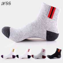 HSS Brand 5 Pairs/set Basic Strip Men Socks EU 35-45(US 6-11) Mesh Breathable High Quality Cotton sock for men Calcetines Hombre