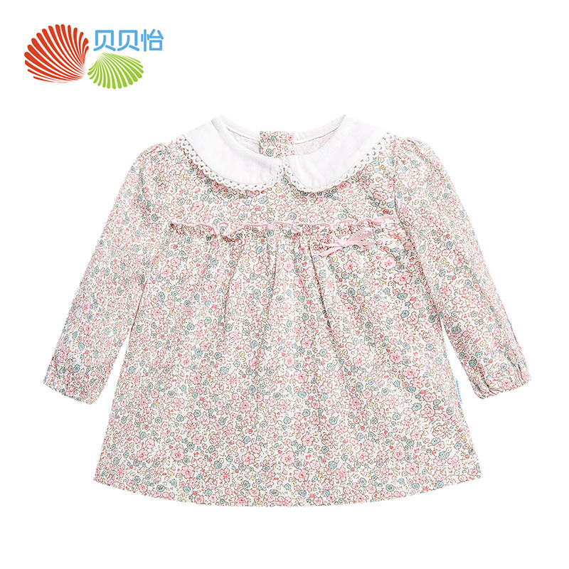Baby girl clothes 100% cotton girl floral top children clothing long sleeve t-shirt girl cute dress shirt kids clothes 153S088(China)