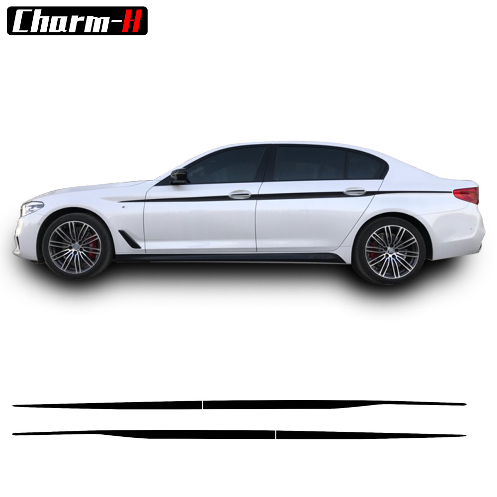 2pcs Black/Silvergrey/5D Carbon fibre M Performance Door Side Stripe Sticker Sport Waist Line Decals for BMW New 5 Series G30 <br>