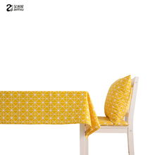 AIMIU Yellow Table Cloth Set Home Kitchen Dining Room Tablecloth Washable Cotton Hemp Table Seat Covers Set Creative Furnishings