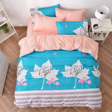 leaves crane bird print bedding sets bedspreads comforters single twin full queen king size Children's girls bed turquoise coral(China)