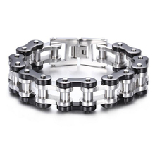 High Quality 23.5cm * 20mm Huge Heavy Mens Stainless Steel Bike Motorcycle Link Chain Bracelet Silver Black Biker Bangle Jewelry