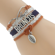 Infinity Love Broncos Football Team Bangles White Orange Navy Blue Customize sports Wristband friendship Bangles