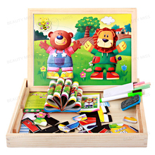 Multifunctional Wooden Jigsaw Puzzle Bear & Lion Change Wooden Magnetic 3D Puzzles Baby's Drawing Blackboard & Whiteboard