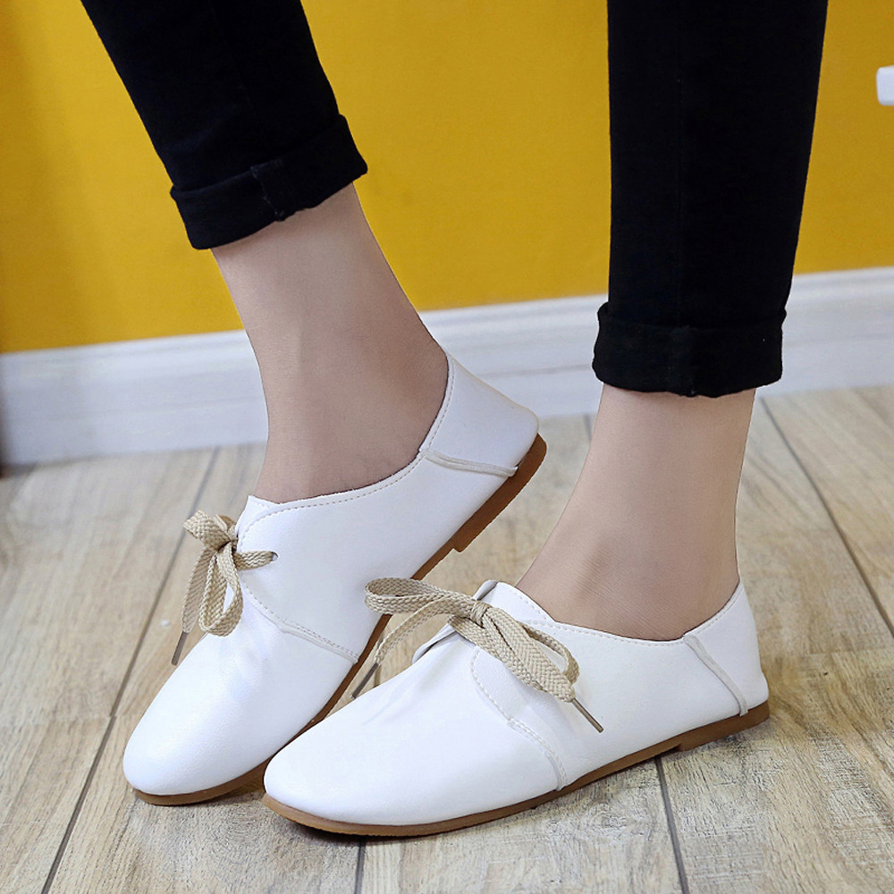 New Women Fashion Comfortable And Easy Round Lace Solid Flats Shoes Slip On Shoes Flat Leisure Low-heeled Flat Shoes Loafers<br><br>Aliexpress