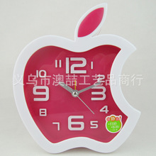 Apple shaped fashion creative gift alarm clock 3D stereo digital large alarm mute Students must