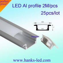 25pcs/lot 80inch 2m led bar light housing , led  aluminium profile matte clear cover frosted alu channel for led strip